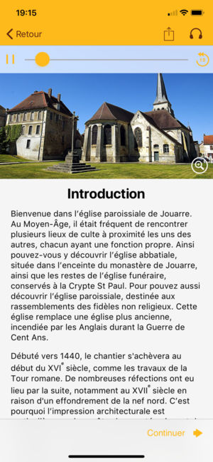 Introduction sur l'Eglise Saint-Pierre-et-Paul de Jouarre sur l'application mobile